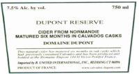 Cidre Reserve E Dupont Label crop