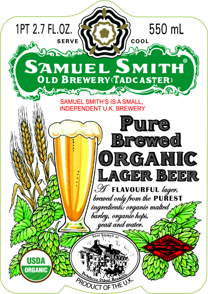 Samuel Smith Pure Brewed Organic Lager 550ml front label