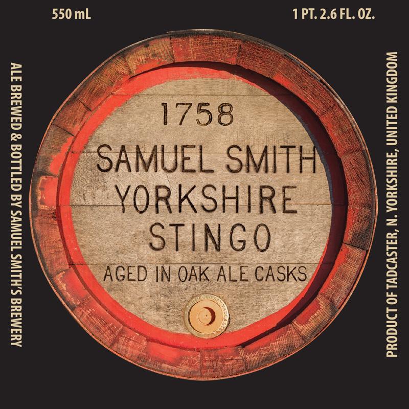 Samuel Smiths Yorkshire Stingo Barrel End USA frontlabel 2017