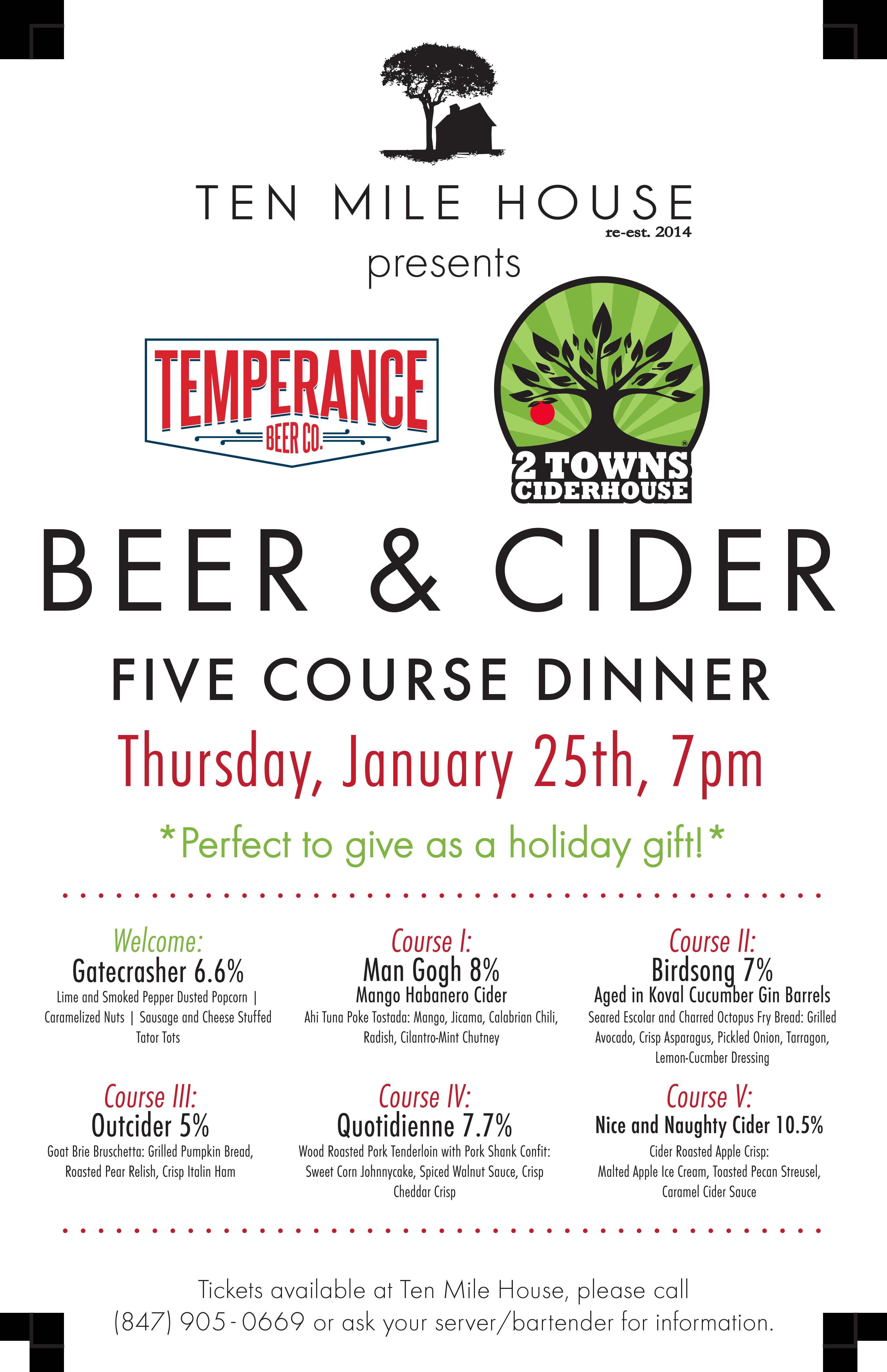 Ten Mile House beer cider dinner 1