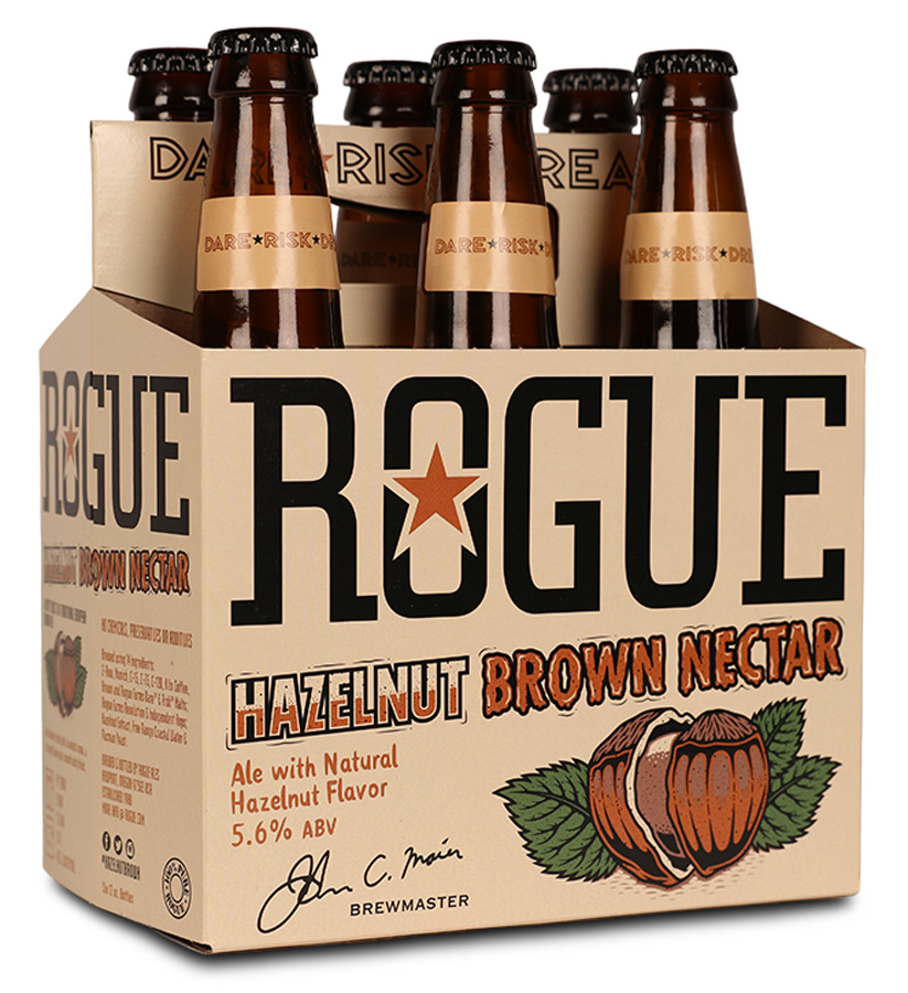 hazelnut brown nectar 12oz bottle six pack angle
